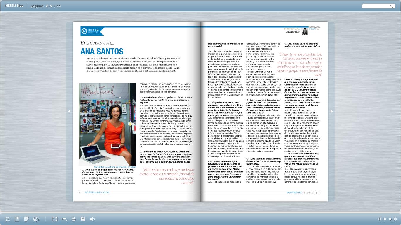 Entrevista en Inesem Plus sobre emprendedores
